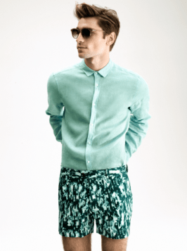 H&M Summer 2013 Collection Lookbook - Green Shirt and Shorts