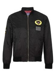Black-Mens-Nylon-Cat-Badge-Bomber-Jacket