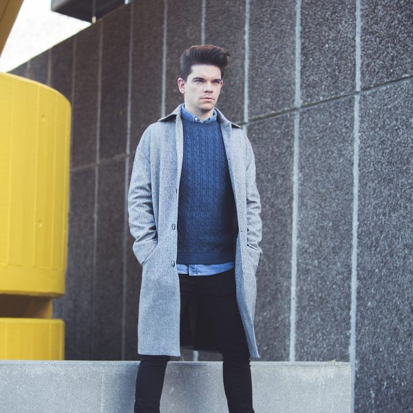 Robin_James_The_Utter_Gutter_Topman_Clothes_Winter_Shoot_Grey_Coat_Cable_Knit_Denim_Shirt_Portrait