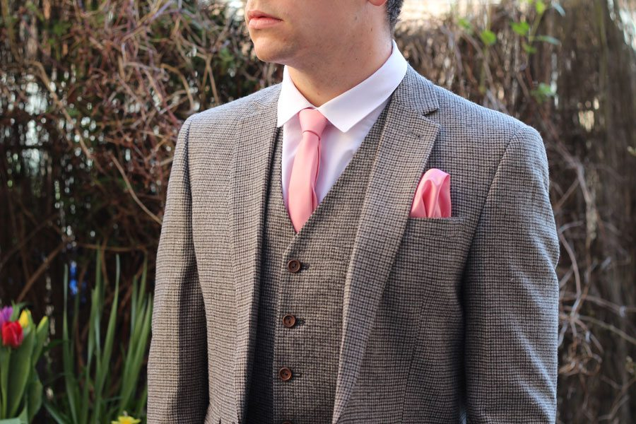 Wedding-Formal-Wear-Robin-James-The-Utter-Gutter-Brown-Dogstooth-Suit-Pink-Tie-Pocket-Square