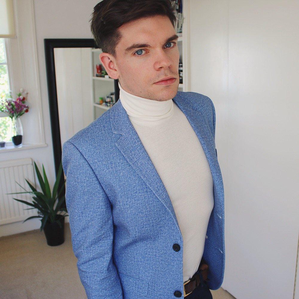 Topman Haul - White roll neck, blue blazer