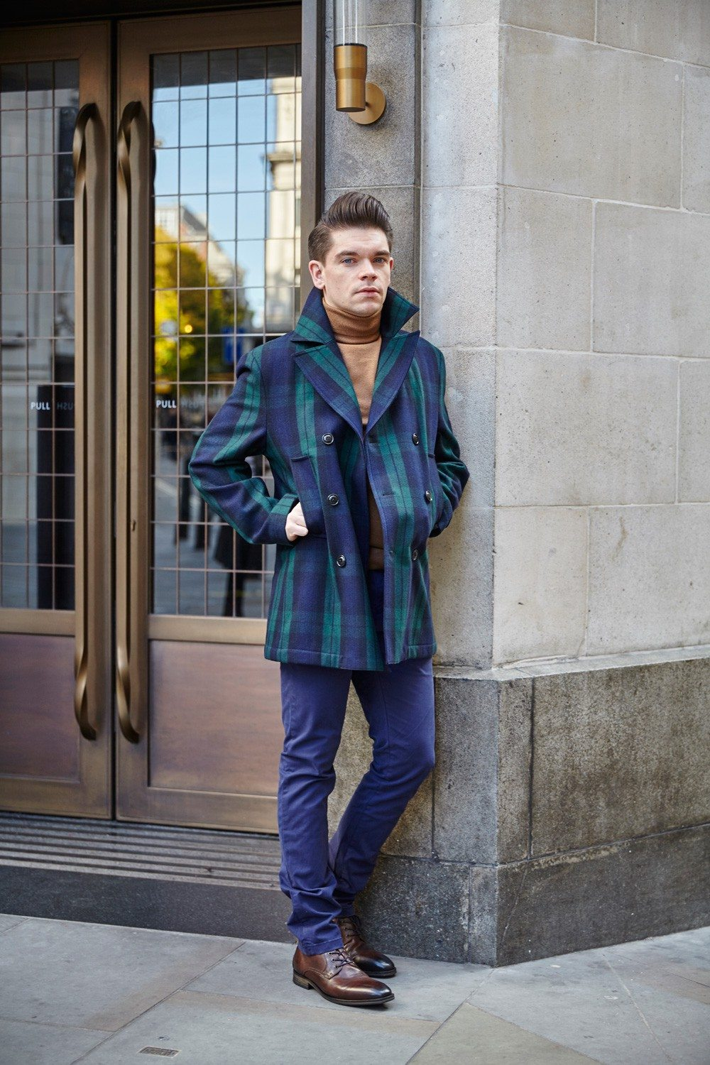 Tommy Hilfiger Tartan Pea Coat, Chinos, Brown Boots | Robin James | Man For Himself