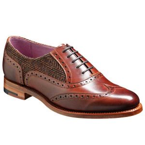 barker ladies shoes freya brogue walnut brown tweed