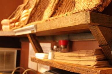 Small Cafe Shelving Unit, repurposed wood.