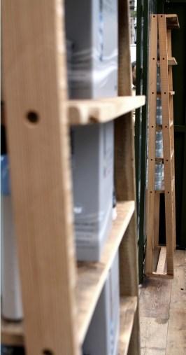 Geometric hardwood standing shelves