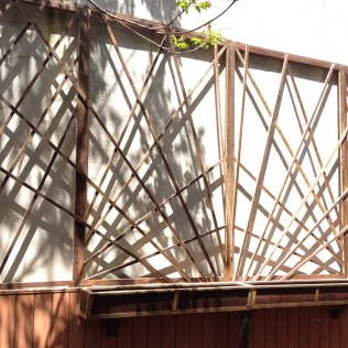 planters and trellis by man from the woods trellis