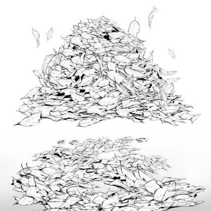 Piled Fallen Leaves Brush Manga Materials