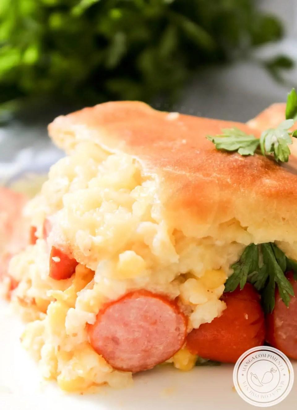 Receita de Torta de Cachorro Quente com Milho e Purê de Batata - um lanche da tarde delicioso.