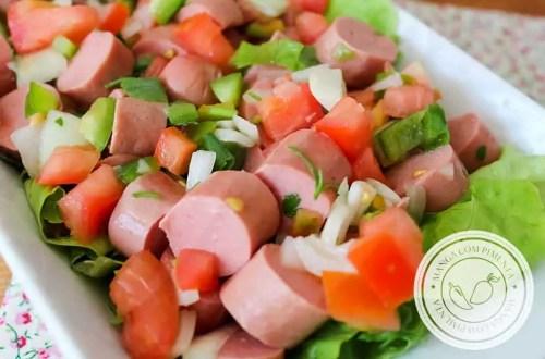 Salada de Salsicha - receita versátil para o almoço ou um lanche!