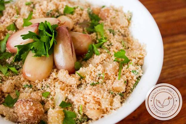 Receita de Farofa de Pinhão | uma comida deliciosa para comemorar o inverno nas festas de São João.