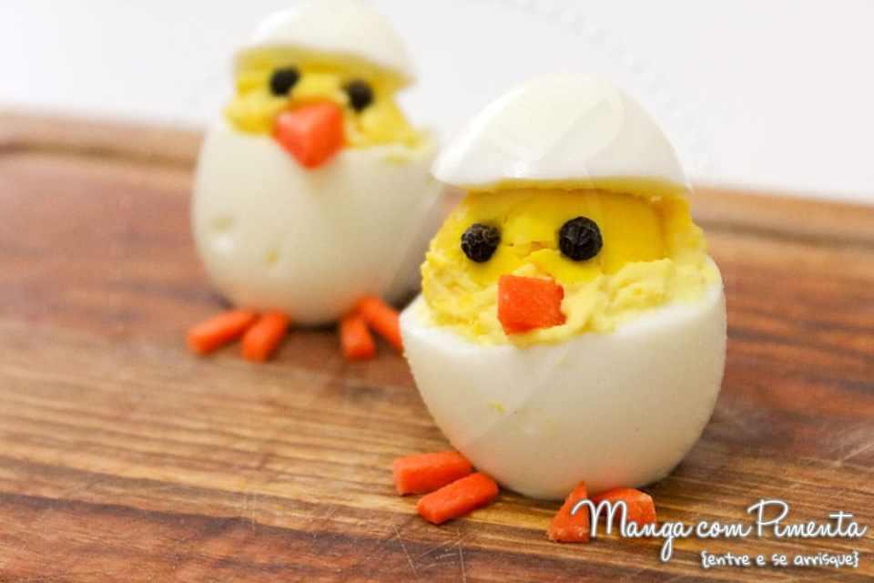 Ovos divertidos em forma de pintinhos