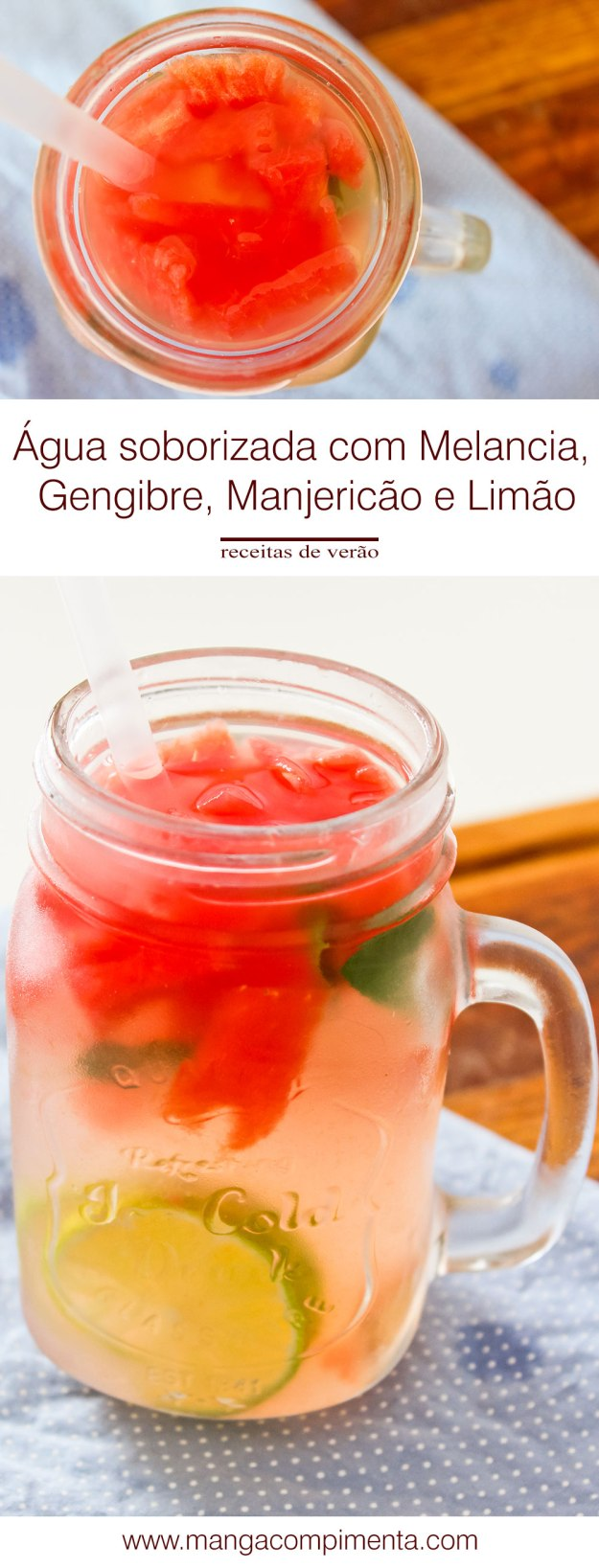 Receita de Água Saborizada com Melancia, Gengibre, Manjericão e Limão - prepare uma bebida deliciosa neste verão.