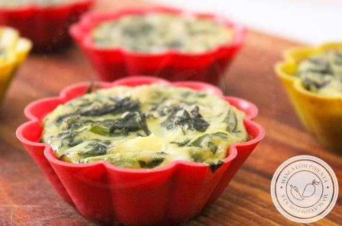 Muffin de Ovo, Espinafre e Alho | Para Lanchar ou Almoçar, um prato saudável.