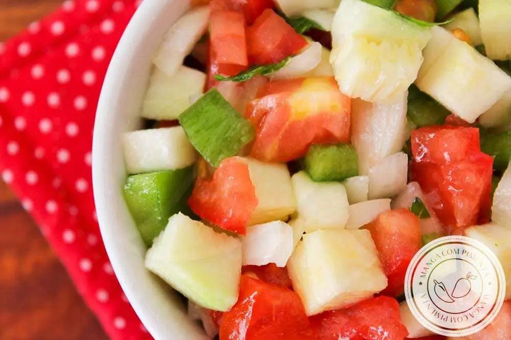 Vinagrete de Abobrinha Crua com Tomate, Cebola e Pimentão | Para lanchar e petiscar!