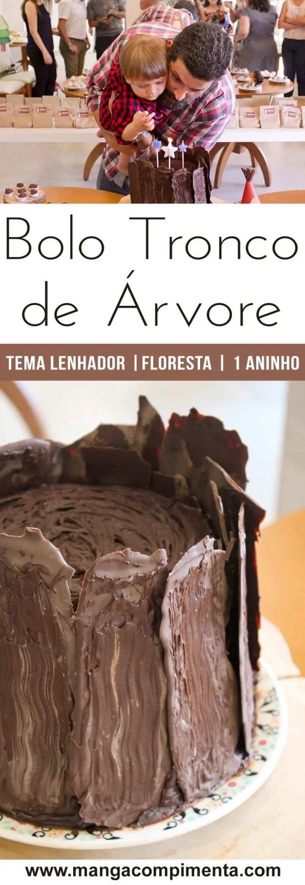 Receita do Bolo de Aniversário Tronco de Árvore - Sabor Chocolate, Recheio de Brigadeiro e Cobertura de Ganache.