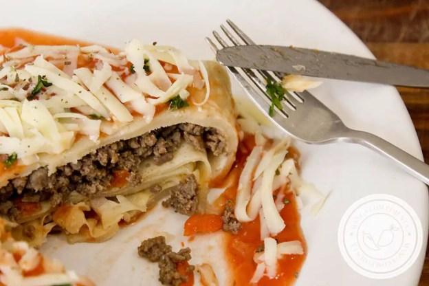 Panqueca Quadrada de Travessa Recheada com Carne Moída - um almoço diferente para o final de semana!