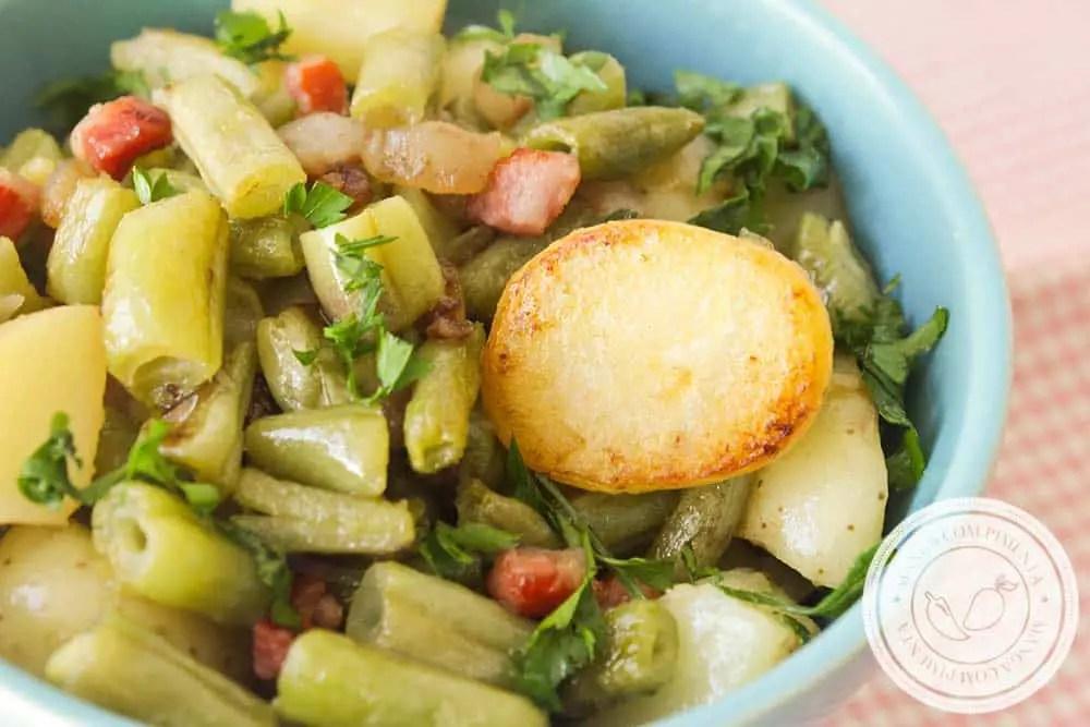 Batata com Vagem e Bacon salteado na Manteiga - um prato simples, rápido e delicioso para a semana!
