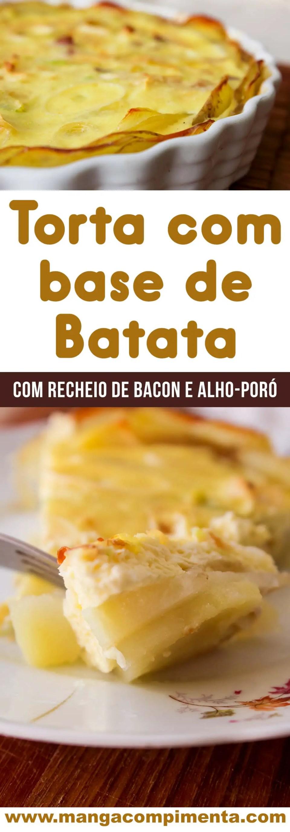Torta de Alho-poró e Bacon com base de Batata - uma torta sem glúten (sem farinha), deliciosa para servir no final de semana!