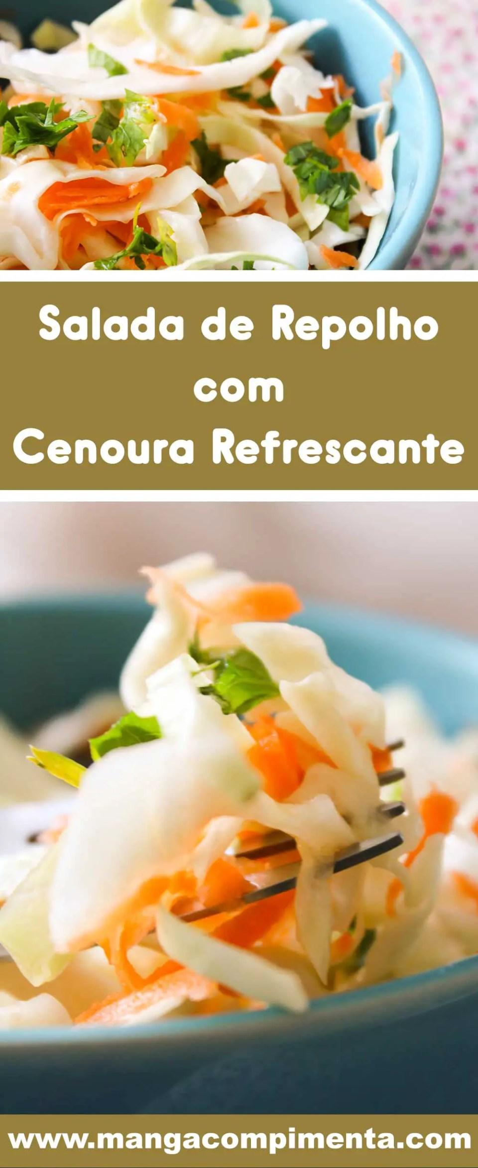 Receita de Salada de Repolho com Cenoura Refrescante - uma entrada deliciosa antes do prato principal.