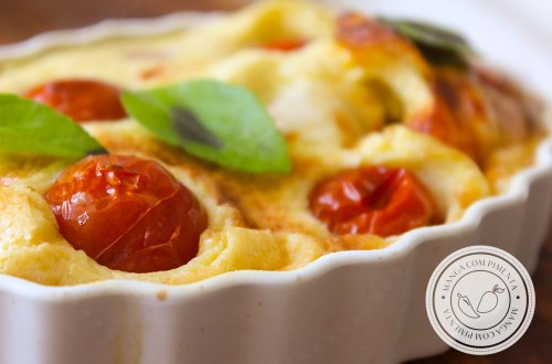 Receita Claufoutis de Queijo e Tomate Cereja - perfeito para as festas de final de ano ou para o almoço do final de semana.