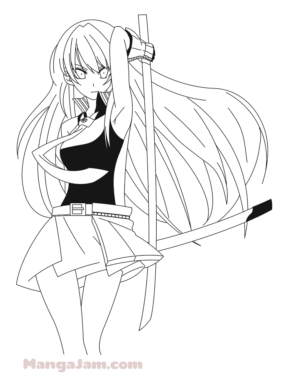 How to Draw Akame with Murasame from Akame Ga Kill