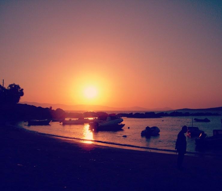 coucher de soleil, Paros, bâteaux