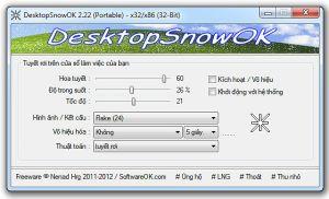 Tuyết rơi trên màn hình với DesktopSnowOk