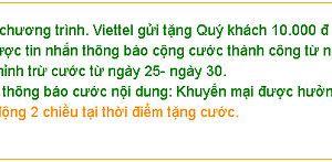 Nhận miễn phí 10.000 đồng từ Viettel Telecom