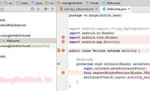 Loại bỏ tiêu đề mặc định khi khởi tạo các ứng dụng trong lập trình Android Studio