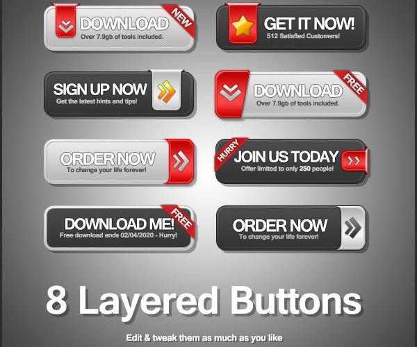 8 mẫu nút bấm Download & Sign Up