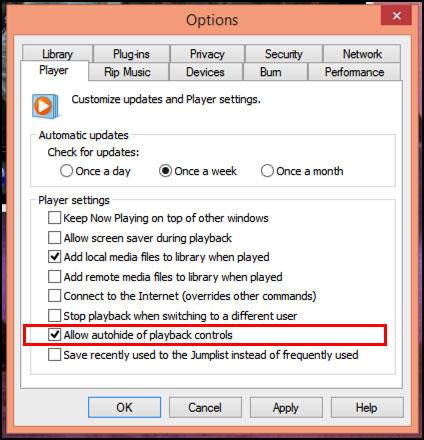 Ẩn thanh điều khiển trên Windows Media Player