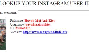 Mã nguồn trang tra cứu ID tài khoản Instagram