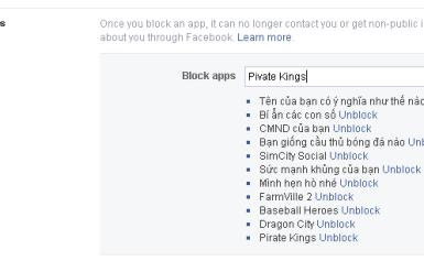 Hướng dẫn chặn lời mới ứng dụng Pirate Kings trên Facebook