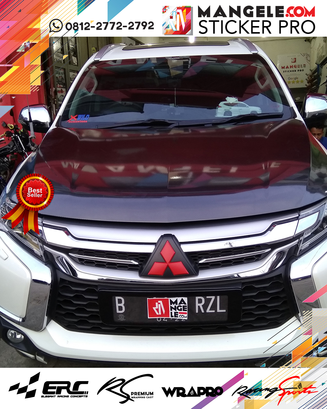 wrapping stiker mobil | Pajero Kap Mesin Carbon | mangele stiker 081227722792