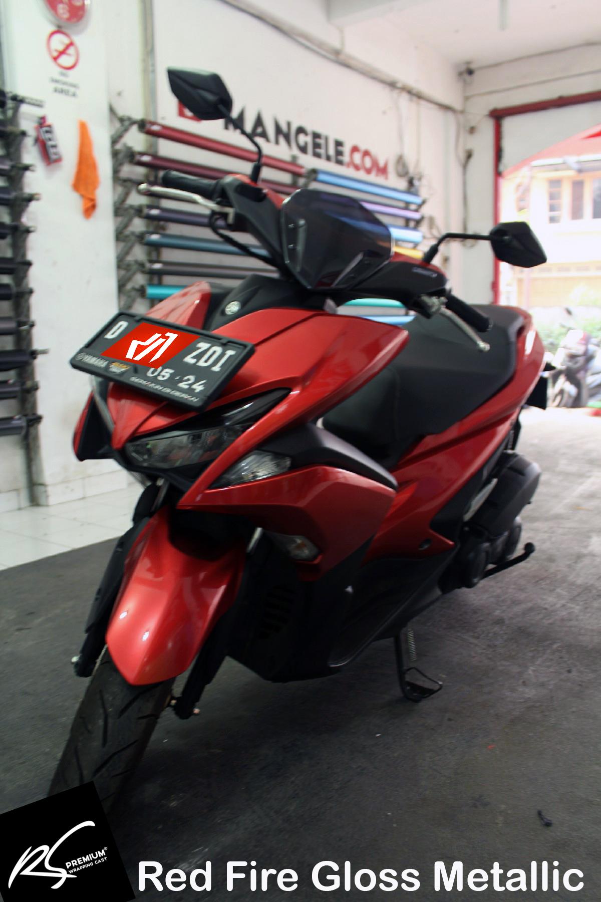 wrapping stiker motor | aerox fullbody red fire gloss metallic keren | mangele stiker 081227722792