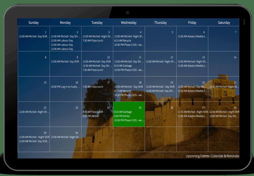 Mango Display Calendar widget