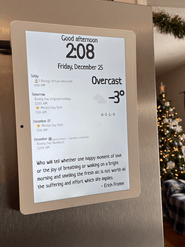 Weather forecast display tablet in Fridge