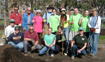 Some of our dedicated volunteers who turned out to help mulch around the Manhan Rail Trail mural on downtown clean-up day May 2, 2015.