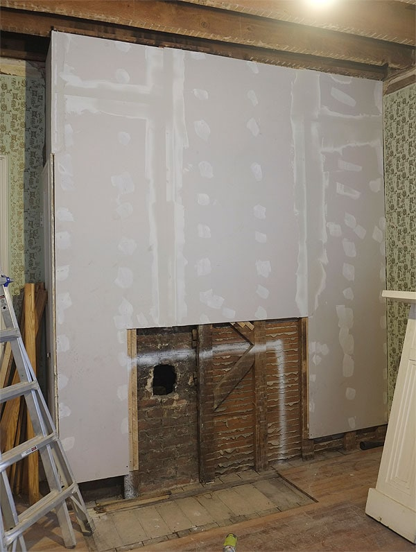 Cover Fireplace With Drywall Building The Faux Fireplace! | Manhattan Nest