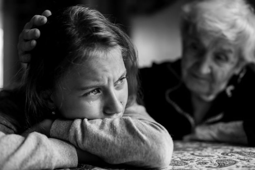 Harm OCD woman being comforted by grandma