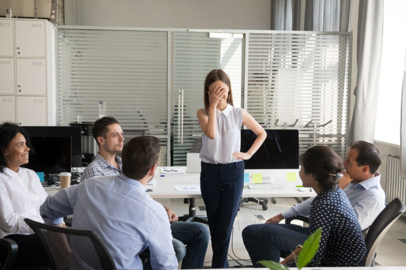 anxiety at work - woman in meeting