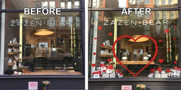 Storefront window vinyl before and after