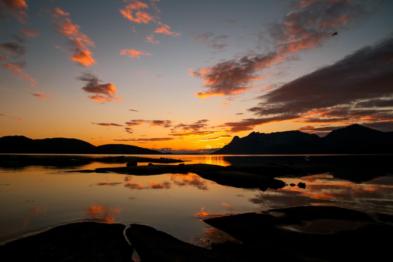 Tilthornet, Hamarøy, i solnedgang