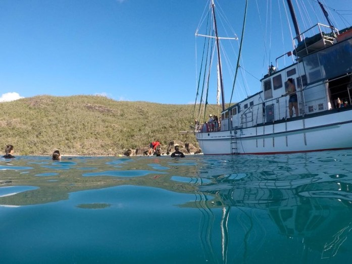 The New Horizon is a 21 meter boat sailing through the Whitsunday Islands.