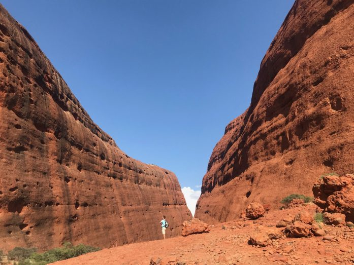 Hiking Kata Tjuta is one of the many hikes you will do with Adventure Tours in the Outback.