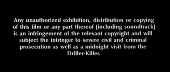 Slumber Party Massacre II - Copyright Warning