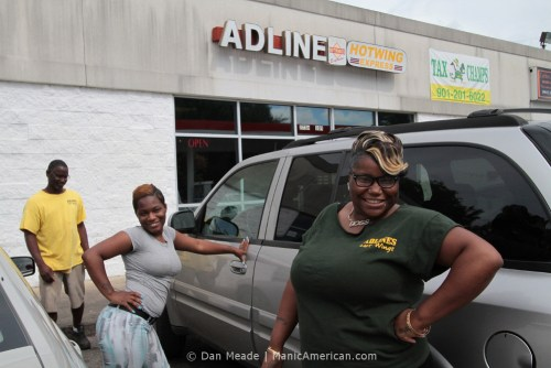 Adline's Hot Wings Express staff outside the store.