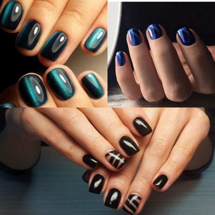 Короткие ногти с тёмным лаком