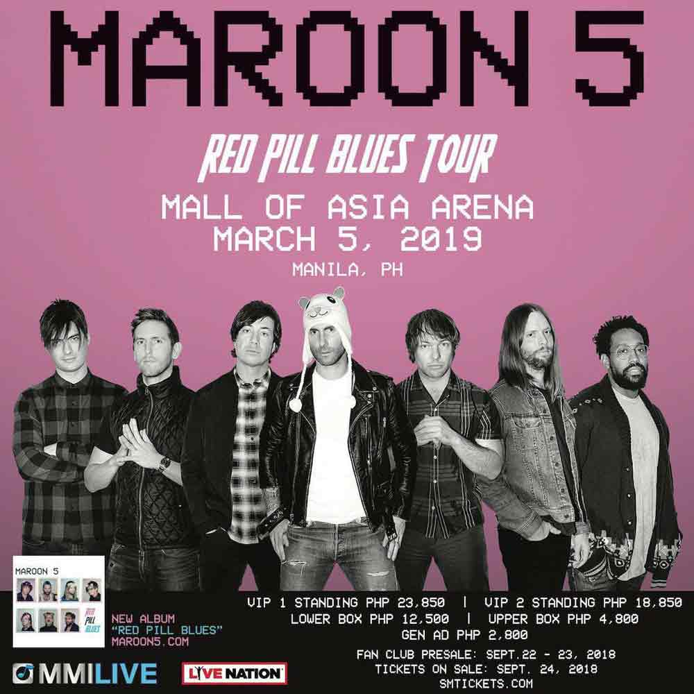 d07f9b1e99067 Maroon 5 poster for their Red Pill Blues Tour in manila in 2019.