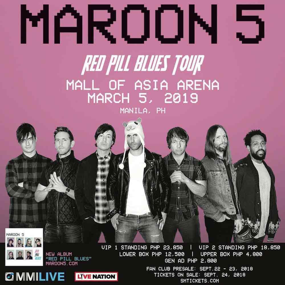 maroon 5 in manila 2019 tickets venue updates philippines. Black Bedroom Furniture Sets. Home Design Ideas